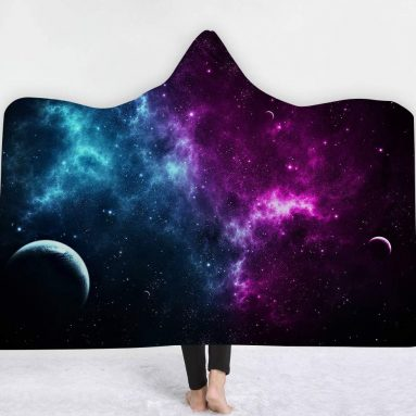 Fantastic 3D Cosmic Galaxy View Wearable Hooded Blanket