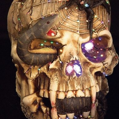 Fiber Optic Snake Eyed Skull Halloween Prop