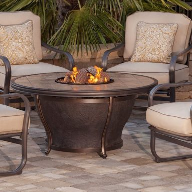 Fire Pit with Copper Reflective Fire Glass