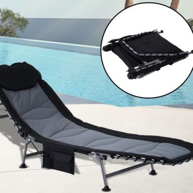 Folding Recliner Lounge Chair w/ Side Storage