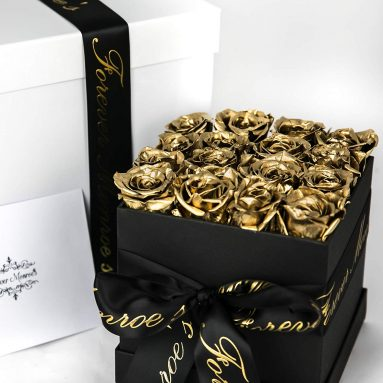 Forever Monroe's Metallic Gold Preserved Box of Roses