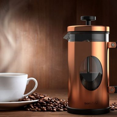 French Press Made Of Stainless Steel And Glass In Copper Finish