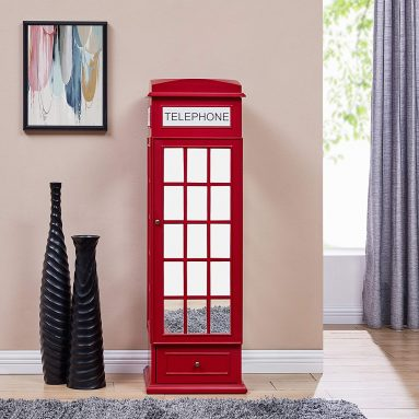 Furniture HotSpot Red Armoire Floor Jewelry Chest Phone Booth Cabinet