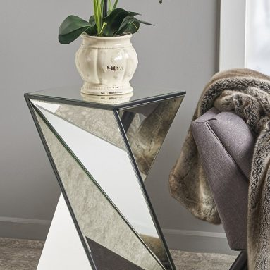 Geometrical Mirrored Side Table