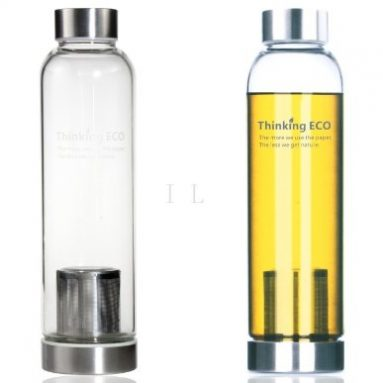 Glass Bottle with Tea Infuser and Protective Bag