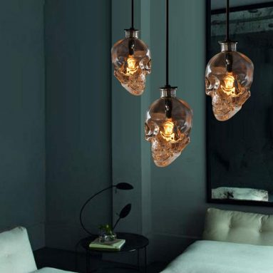 Glass Skull Industrial Vintage Retro Style Pendant Light