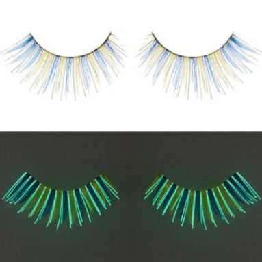 Glow In The Dark Blue Yellow False Eyelashes