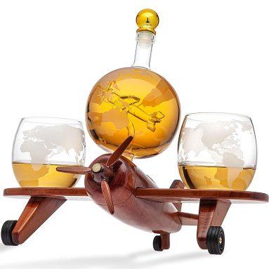 Godinger Whiskey Decanter Airplane Globe Set