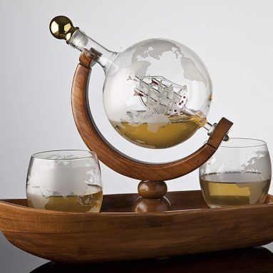 Godinger Whiskey Decanter Ship Globe Set