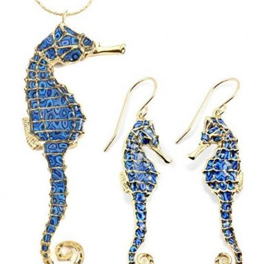 Gold Plated Sterling Silver Seahorse Jewelry Set