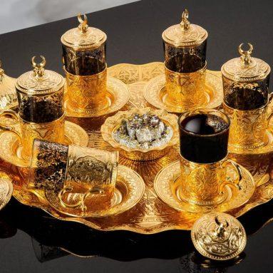 Gold Plated Turkish Tea Set