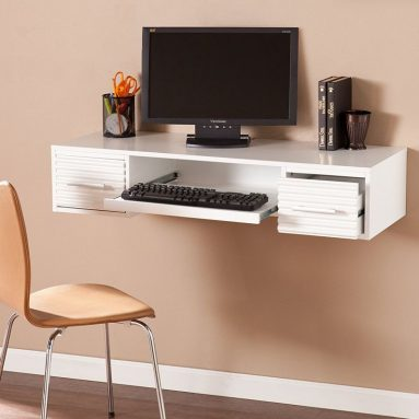 Goldnail White Wood Wall Mount Desk