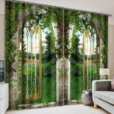 Green Natural Scenery View Print 3D Blackout Curtain