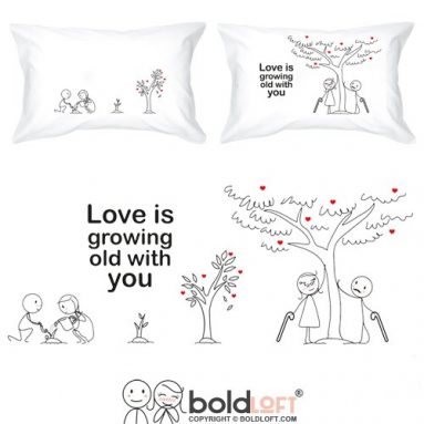Grow Old with You His and Hers Pillowcases
