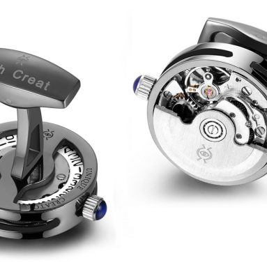 Gunmetal PVD Open Side Cage Automatic Working Movement Cufflinks