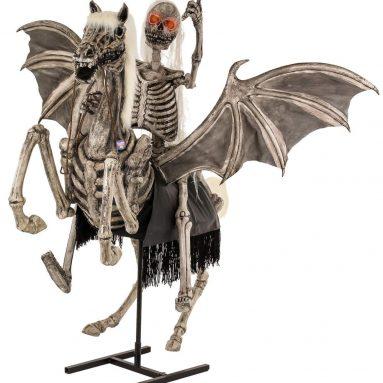 Halloween Haunters Life-Size Animated Standing Scary Skeleton Pegasus Horse