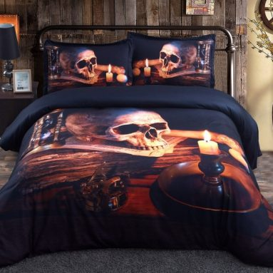 Halloween Skull with Candle 3d Bedding Set