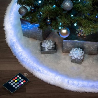 Halo Christmas tree skirt 60″ Snow White Faux Fur & Programmable & Controller