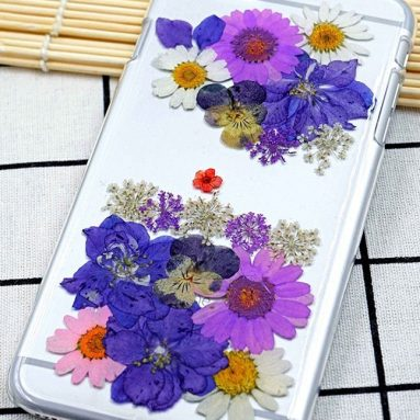 Handmade craft iPhone7 Plus case with real flower