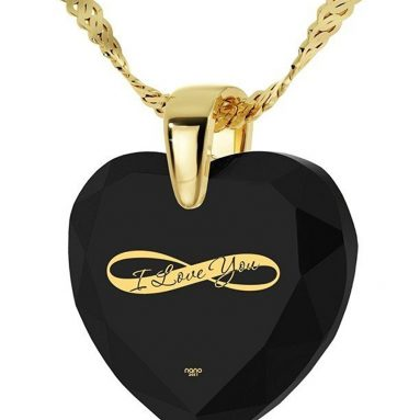 Heart Necklace 24k Gold Inscribed I Love You and Infinity Symbol on Cubic Zirconia