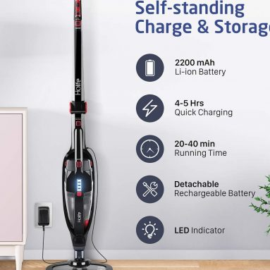 HoLife 2-in-1 Cordless Stick Vacuum Cleaner Upright and Handheld Vacuum Bagless with LED Power Brush
