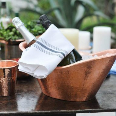Home Luxe Hammered Copper Bath Tub Ice Bucket Scoop Set