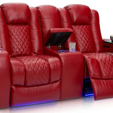 Home Theater Seating Leather Power Recline Loveseat with Center Storage Console