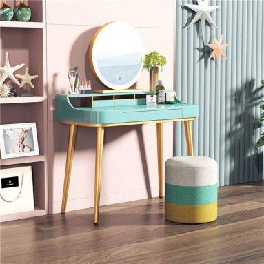 Home Vanities Metal and Wood Vanity Table Set