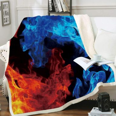 Fire and Ice Sherpa Plush Fleece Wearable Throw Blanket