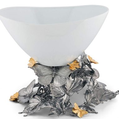 House Pewter Butterfly Centerpiece Porcelain Bowl