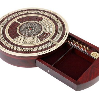 House of Cribbage – 10″ Round Shape 4 Tracks Continuous Cribbage Board Maple / Bloodwood