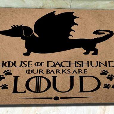 House of Dachshund Monogram Doormat Indoor Outdoor Rubber Welcome Mat