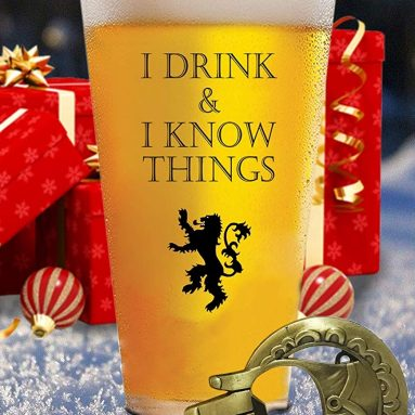 I Drink and I Know Things 17 oz Beer Glass