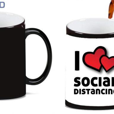 I Love Social Distancing Magic Color Morphing Ceramic Coffee Mug