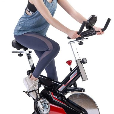 Indoor Cycling Exercise Bike Belt Drive Stationary Bicycle with LCD Monitor