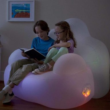 Inflatable Cloud-Soft with Motion Activated, Color Morphing LED lights Kids Novelty Chair