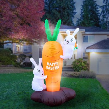 Inflatable Easter Bunny Climbing Carrot Decoration
