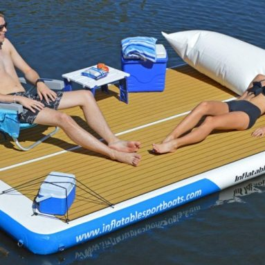 Inflatable Sport Boats Yacht Dock 10′ x 6′ x 6 inches Thick Inflatable Floating Platform