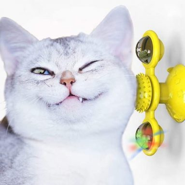Interactive Cat Toy with Suction Cup Portable Windmill Scratch Hair
