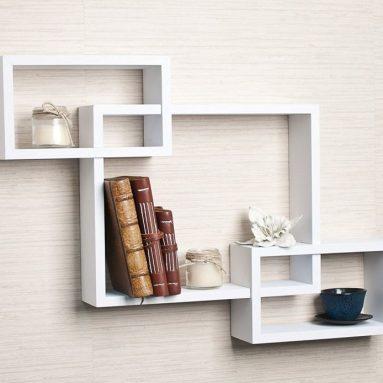 Intersecting White Laminate Wall Shelf