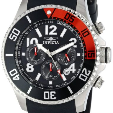 91% Discount: Invicta Men's Black Dial Black Polyurethane Strap Watch
