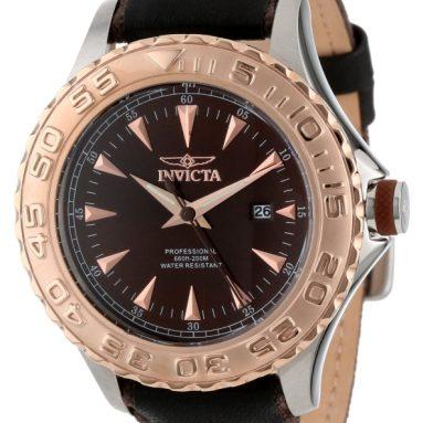 Invicta Men's Black Leather Strap Watch