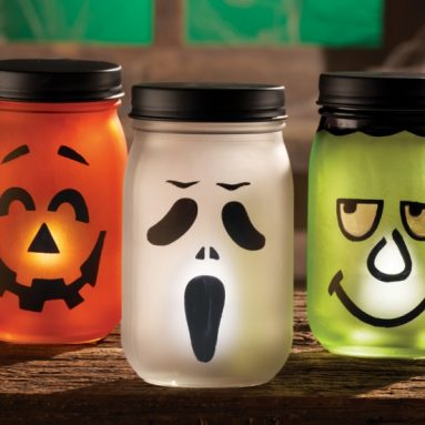 Jack O Lantern Halloween LED Lighted Jars
