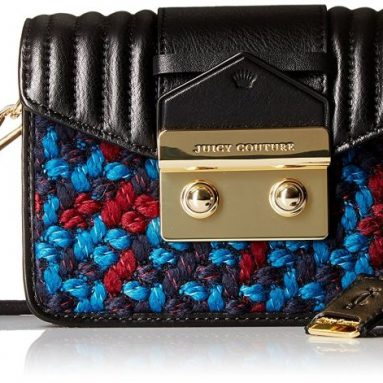 Juicy Couture Black Label Chunky Tweed Mini Crossbody with Envelop Flap Closure