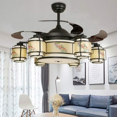 KAAK Light Black Chinese Retro Magpie Pattern Fan Light Living Room