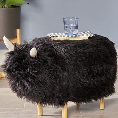 Kamla Furry Yak Ottoman