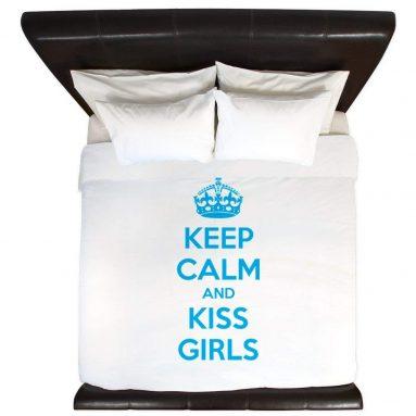 Keep Calm and Kiss Girls King Duvet Cover