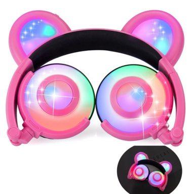 Kids Headphones Bear Ear-Inspired USB Rechargeable LED Backlight