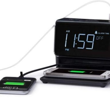 Kube Essentials Power Hub Wireless Charging Alarm Clock Charge Devices with Built in Qi Charger and Cables