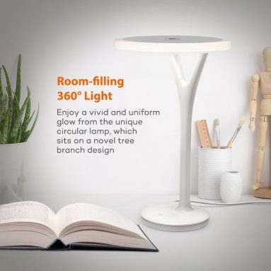 LED Desk Lamp with Circular Lamp Head and Room
